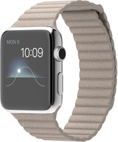 Apple Watch 42mm Stainless Steel with Stone Leather Loop (MJ432)