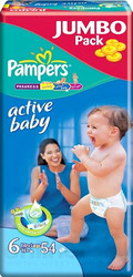 Pampers Active Baby 6 Extra Large Jumbo Pack (54 шт)