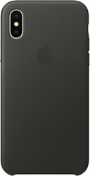 Apple Leather Case для iPhone X Charcoal Gray