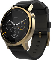 Motorola Moto 360 2nd Gen. Mens 46mm Gold with Black Leather Band
