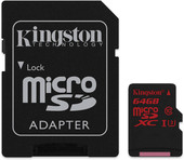 Kingston microSDXC UHS-I U3 (Class 10) 64GB (SDCA3/64GB)