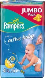 Pampers Active Baby 4 Maxi Jumbo Pack (70 шт)