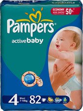 Pampers Active Baby 4 Maxi Giant Pack (82 шт)