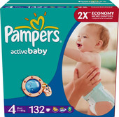 Pampers Active Baby 4 2x Economy (132 шт)