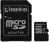 Kingston microSDHC UHS-I (Class 10) 16GB + адаптер [SDC10G2/16GB]