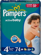 Pampers Active Baby 4+ Maxi Plus (74 шт)