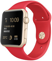 Apple Watch Sport 42mm Gold with Red Sport Band [MMEE2]