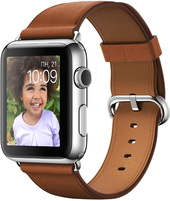 Apple Watch 42mm Stainless Steel with Saddle Brown Classic [MMFT2]