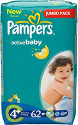 Pampers Active Baby 4+ Maxi Plus Jumbo Pack (62 шт)