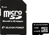 Silicon-Power microSDHC (Class 4) 16 Гб (SP016GBSTH004V10-SP)