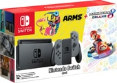 Nintendo Switch + Mario Kart 8 Deluxe + ARMS (серый)