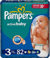 Pampers Active Baby 3 Midi Jumbo Pack (82 шт)