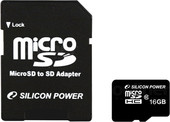 Silicon-Power microSDHC (Class 10) 16 Гб + адаптер (SP016GBSTH010V10-SP)