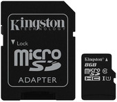 Kingston microSDHC UHS-I (Class 10) 8GB + адаптер [SDC10G2/8GB]