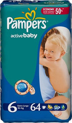 Pampers Active Baby 6 Extra Large (64 шт)