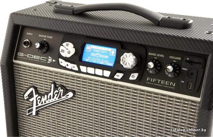 """гитарный, комбик, транзисторный, мощность: 15 Вт, 1x8 """", 8 Ом, каналов: 1, вход AUX, 39x18x34 см, 8.8 кг."""