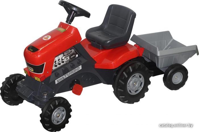 Полесье Каталка-трактор с педалями Turbo с полуприцепом [52681] педальную машинку купить в Минске